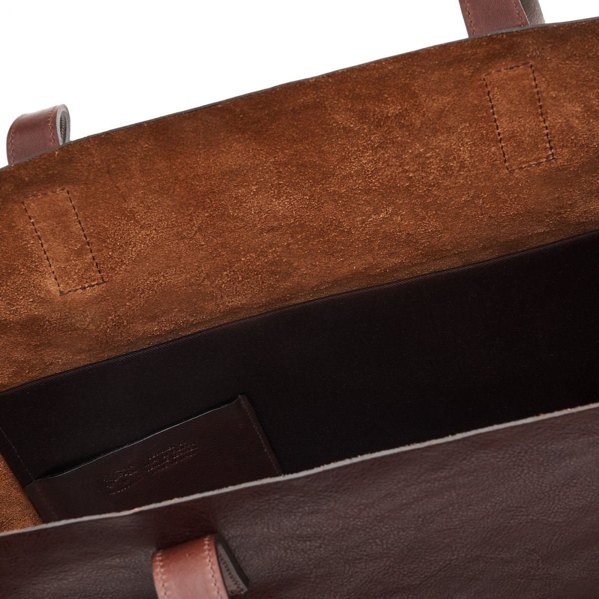 Women's Tote Bag in Vintage Cowhide Leather color Dark Brown - New Icon line BTO010 | Details