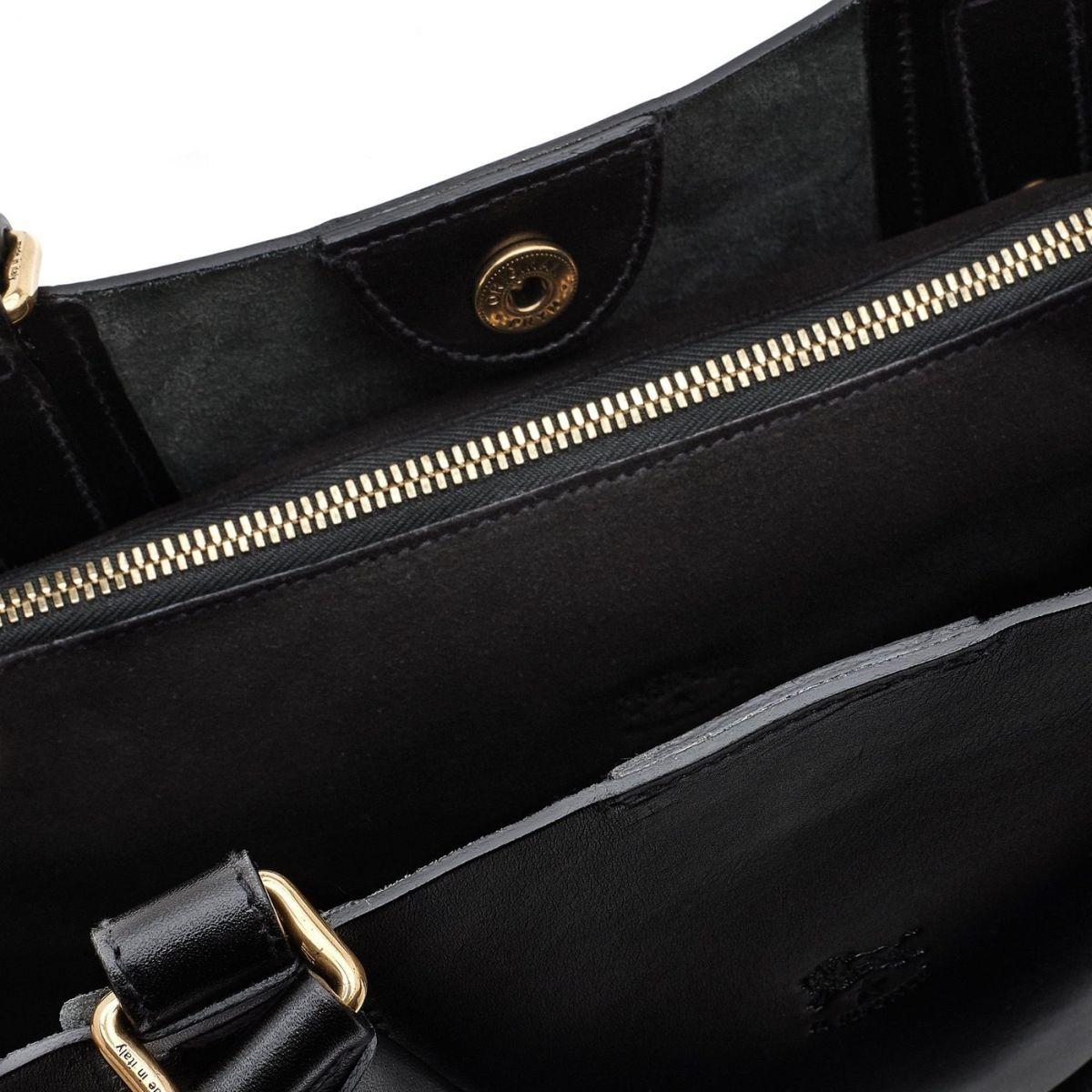 Sac Fourre-Tout pour Femme Selleria en Cuir De Vachette BTO034 couleur Noir | Details
