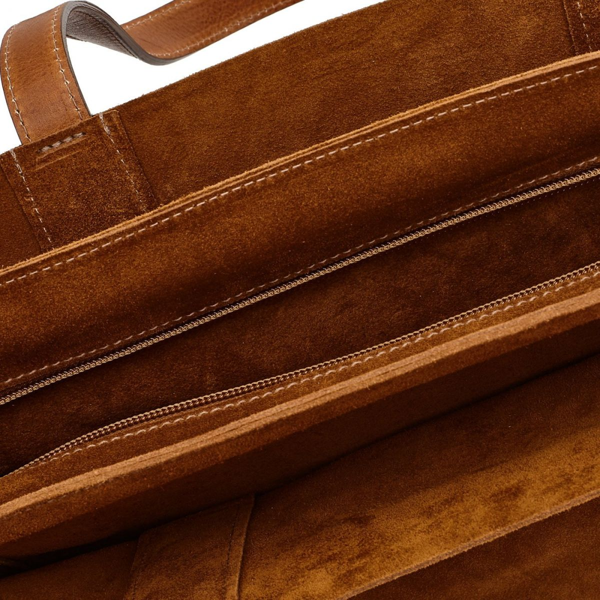 Men's Tote Bag  in Suede BTO039 color Cognac | Details
