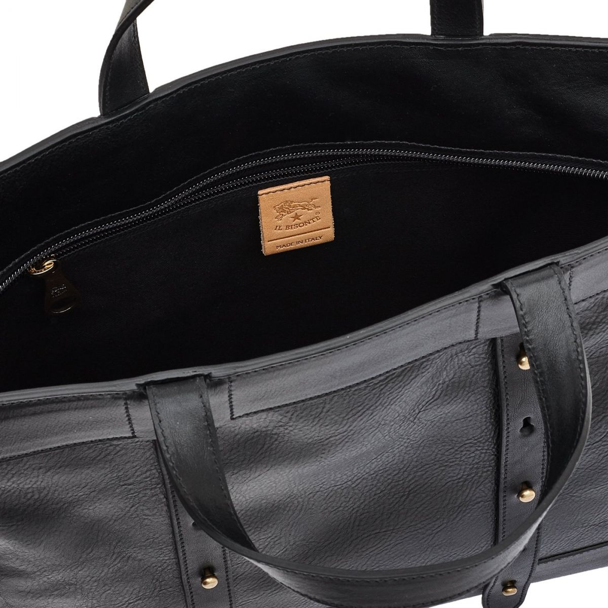Women's Tote Bag Cristina in Cowhide Leather BTO042 color Black | Details