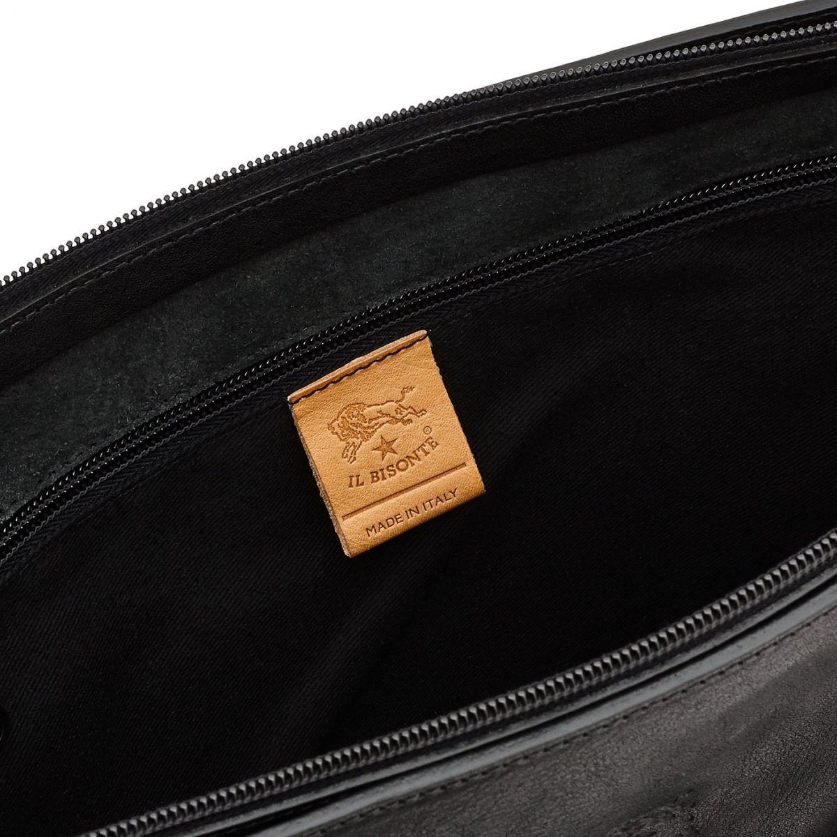 Men's Tote Bag Marea in Vintage Cowhide Leather BTO050 color Black | Details
