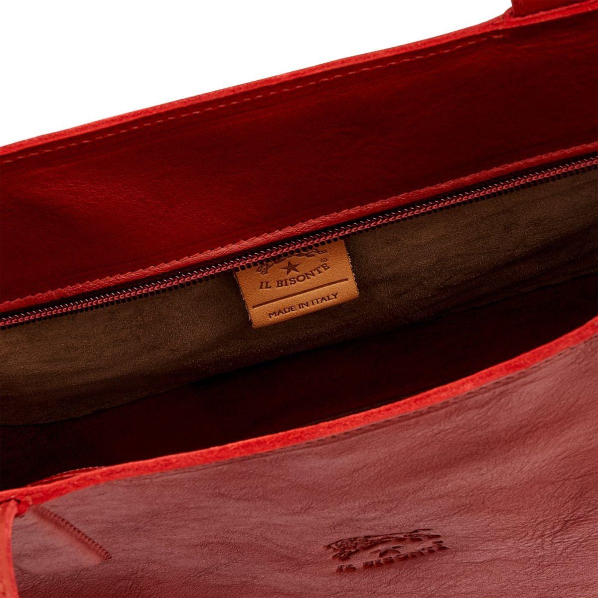 Sac Fourre-Tout pour Femme New Icon en Cuir De Vachette BTO055 couleur Rouge | Details