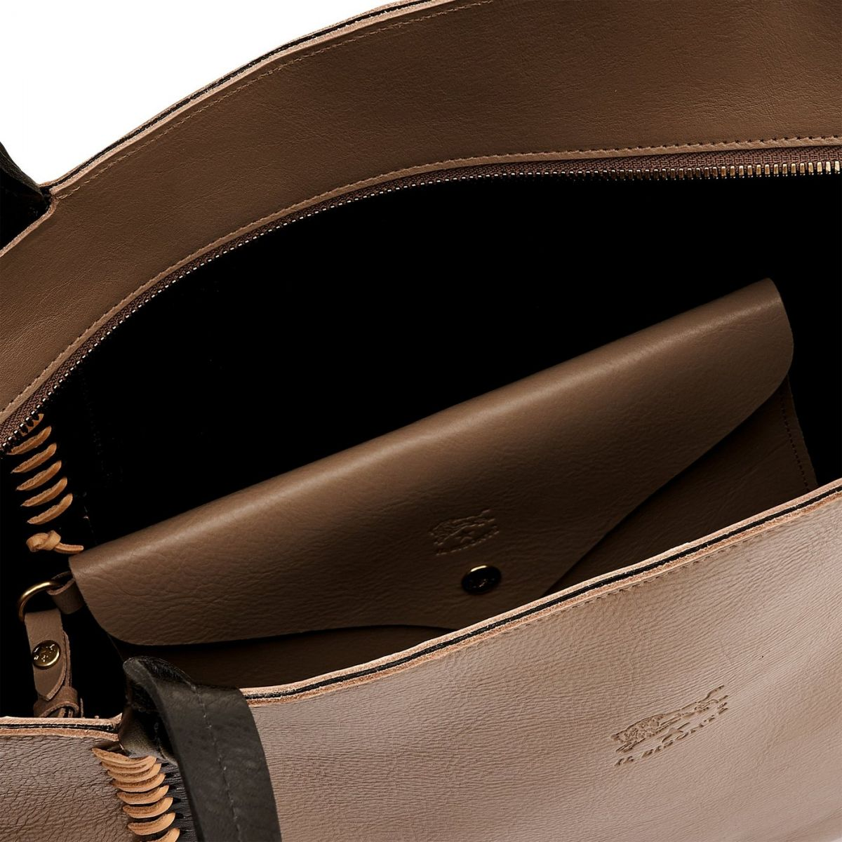 Women's Tote Bag  in Cowhide Leather BTO059 color Black/Light Grey | Details