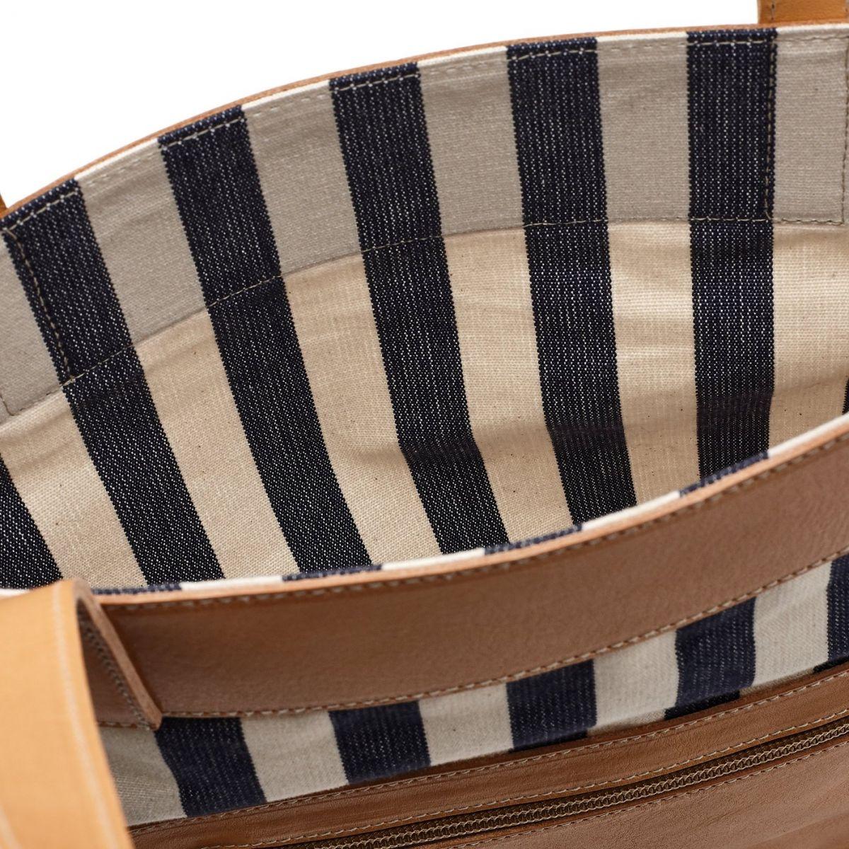 Women's Tote Bag  in Striped Cotton Canvas BTO082 color Multicolor | Details
