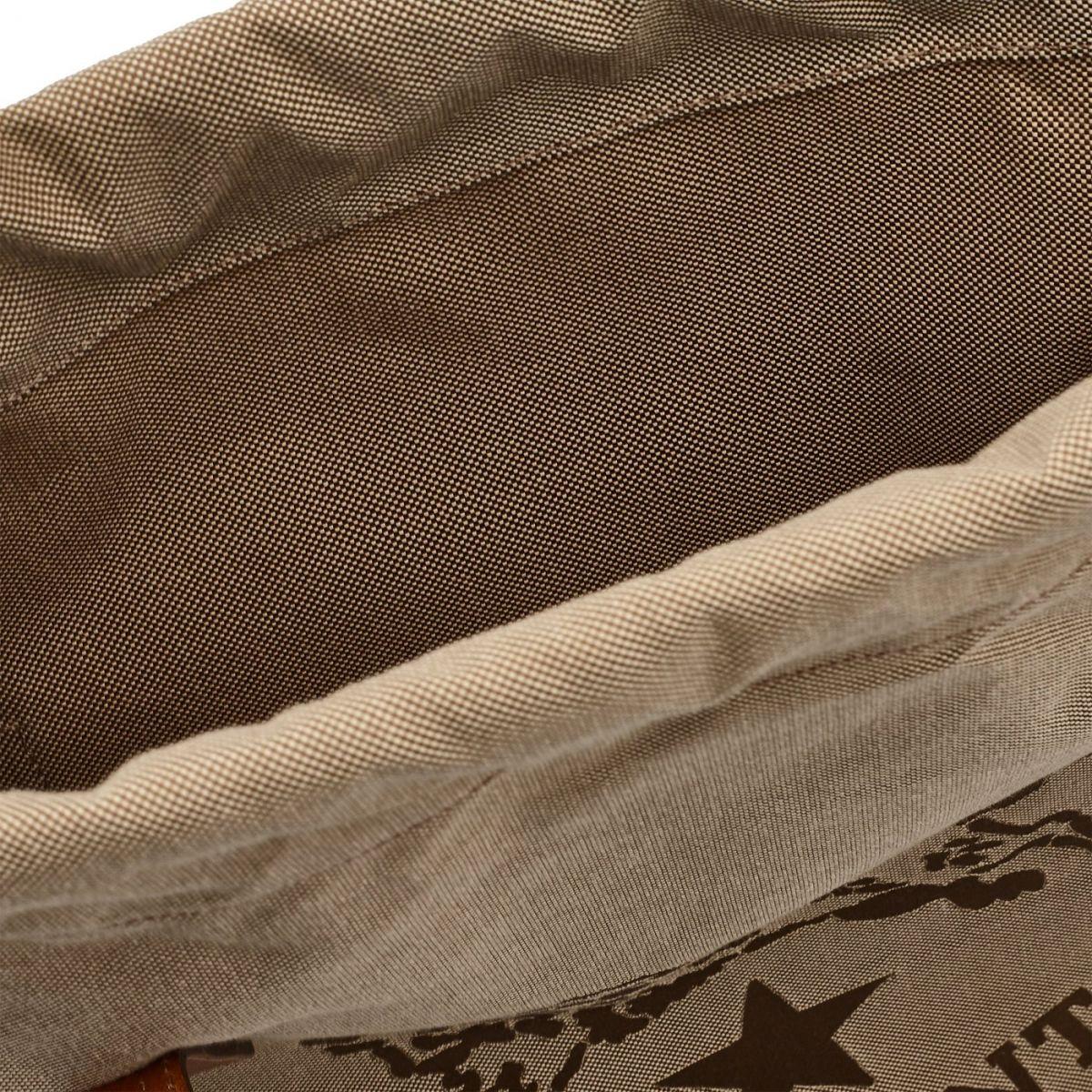 Men's Tote Bag  in Jaquard BTO086 color Khaki/Chocolate | Details