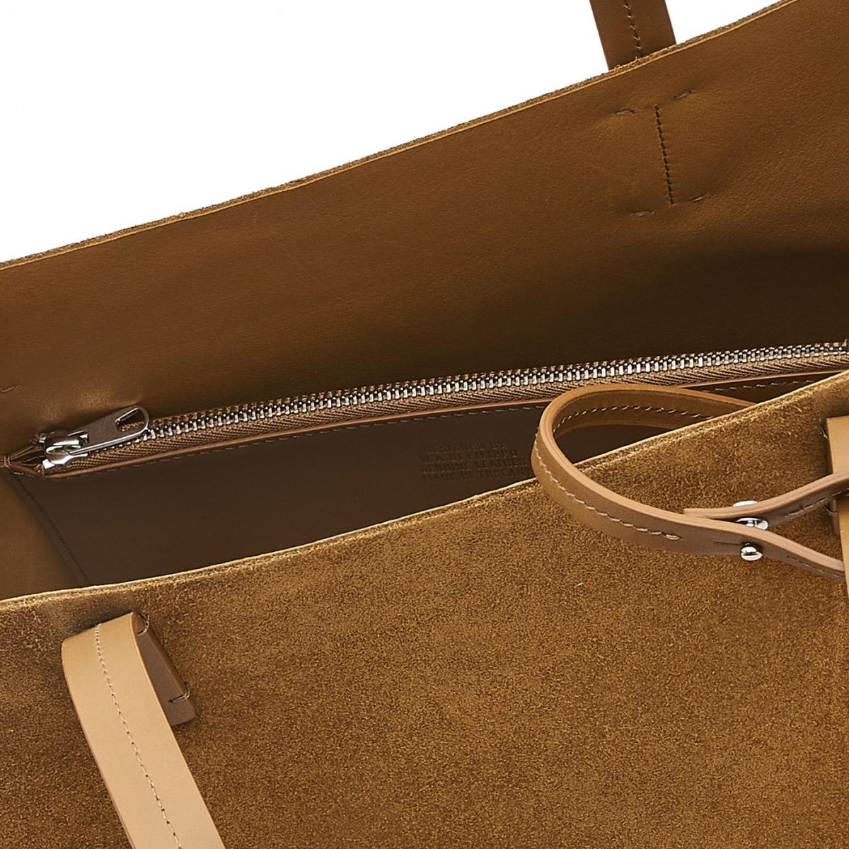 Elba Shopping - Women's Tote Bag in Suede/Calf Leather color Olive - Mediterranea line BTO110 | Details