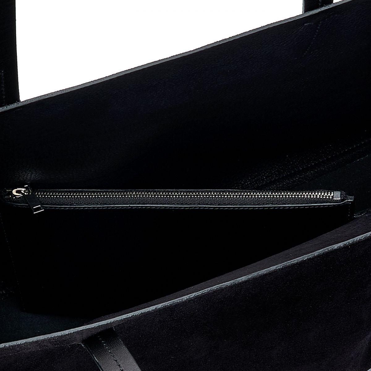 Elba Shopping - Sac Fourre-Tout pour Femme en Cuir De Vachette Au Tannage Végétal /Suede couleur Noir - Ligne Mediterranea BTO110 | Details