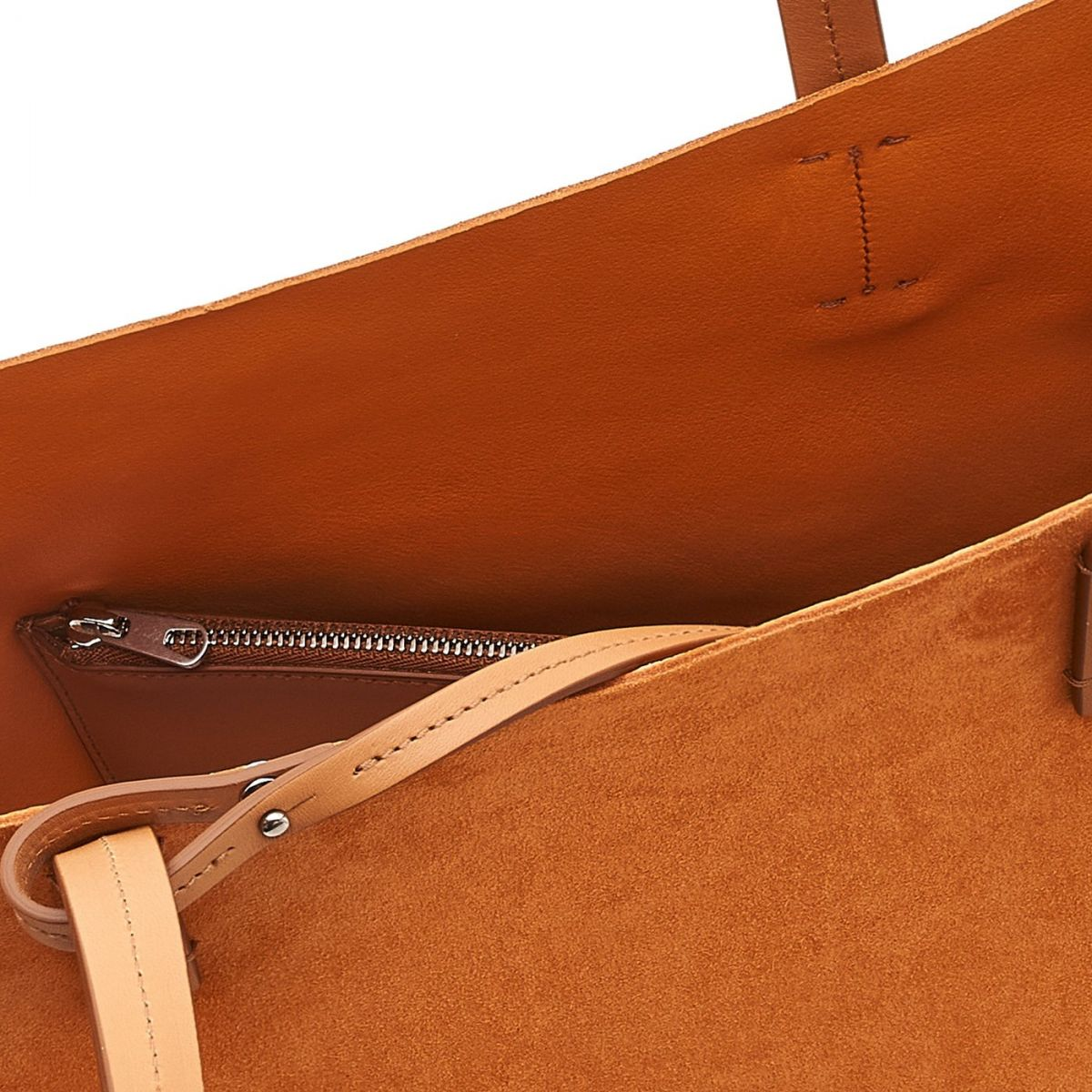 Elba Shopping - Women's Tote Bag in Suede/Vegetable Tanned Cowhide Leather color Brown - Mediterranea line BTO110 | Details