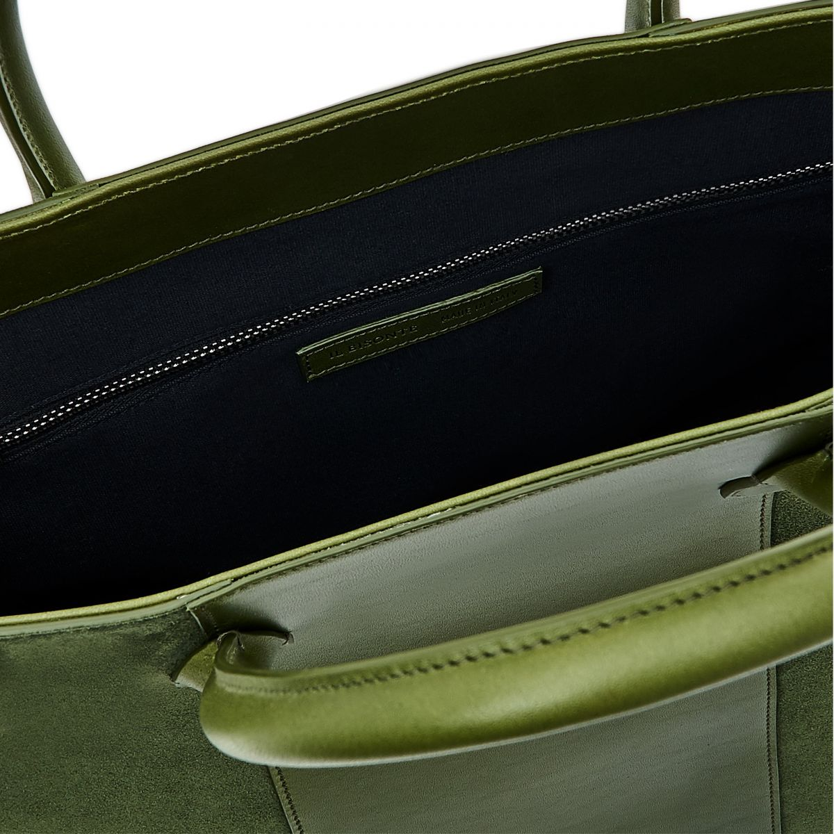 Tote  - Tote Bag in Vegetable Tanned Cowhide Leather/Re-Suede color Green - New Nomad line BTO115 | Details