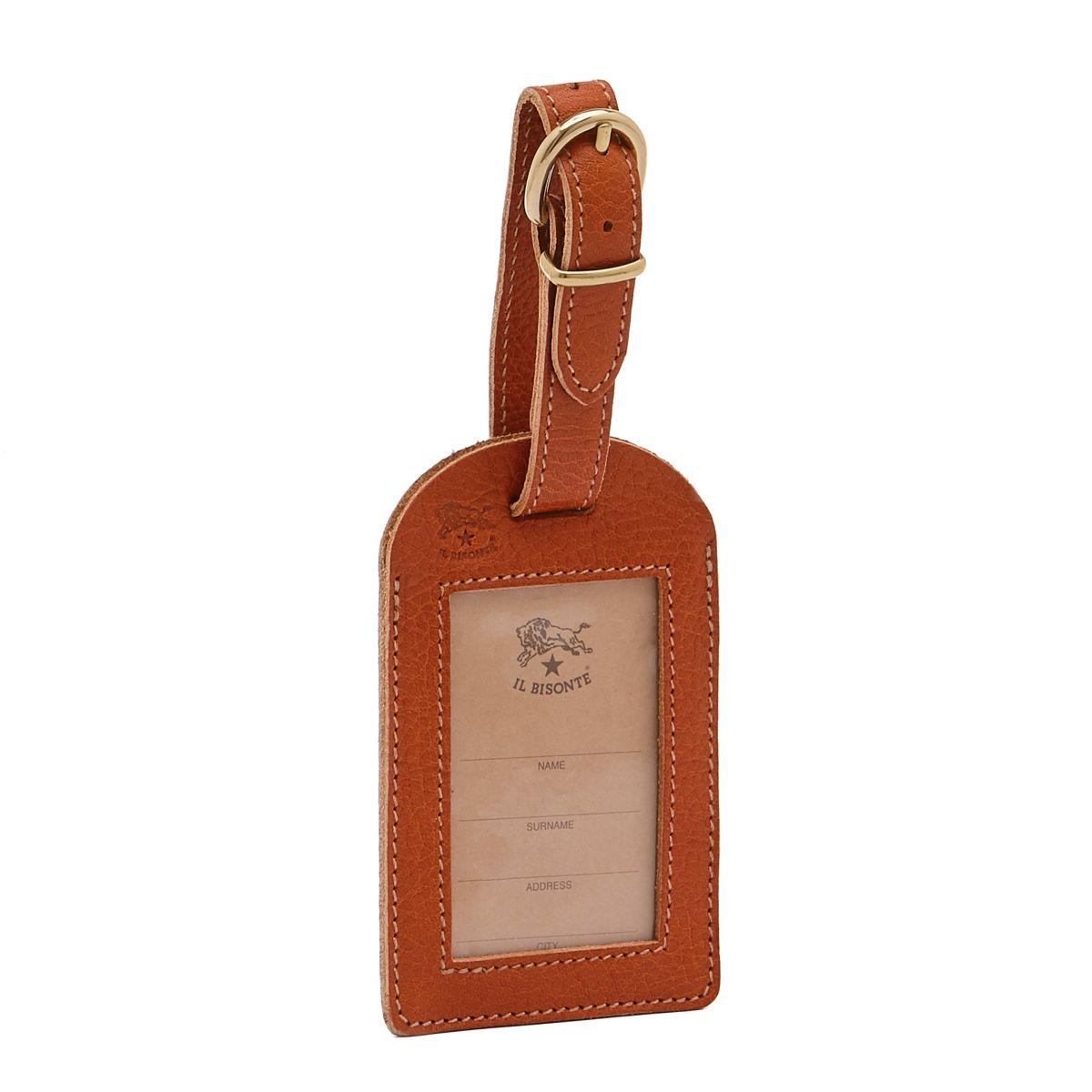 Étiquette De Bagage  en Cuir De Vachette Doublé OLT001 couleur Caramel | Details