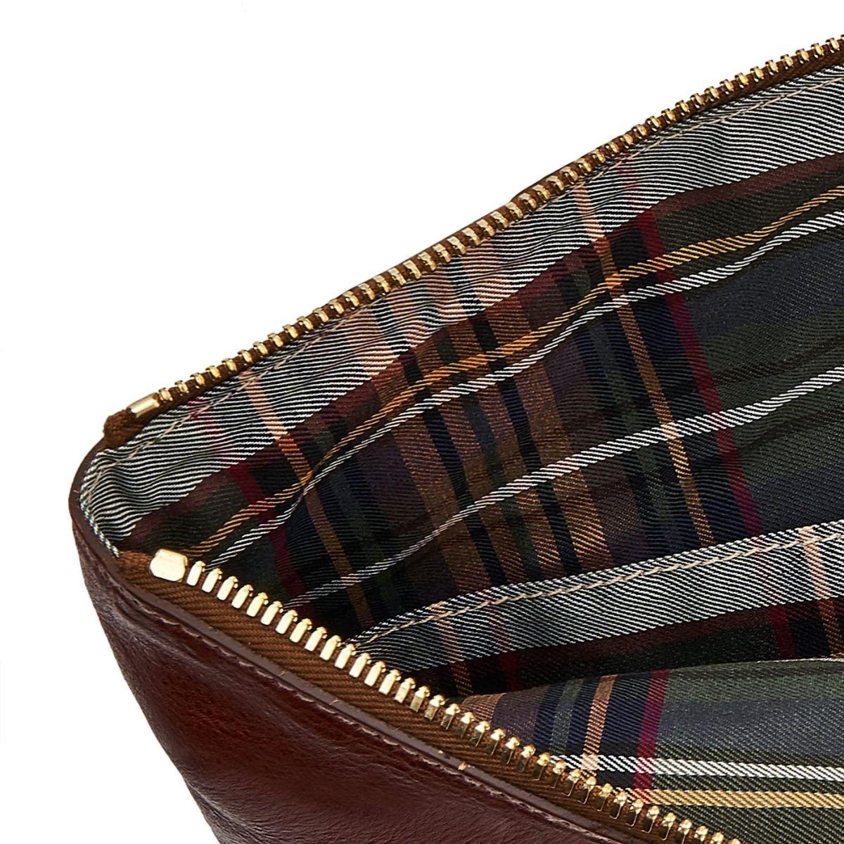 Portefeuilles en Cuir De Vachette Vintage OSL002 couleur Brun Foncé Seppia | Details