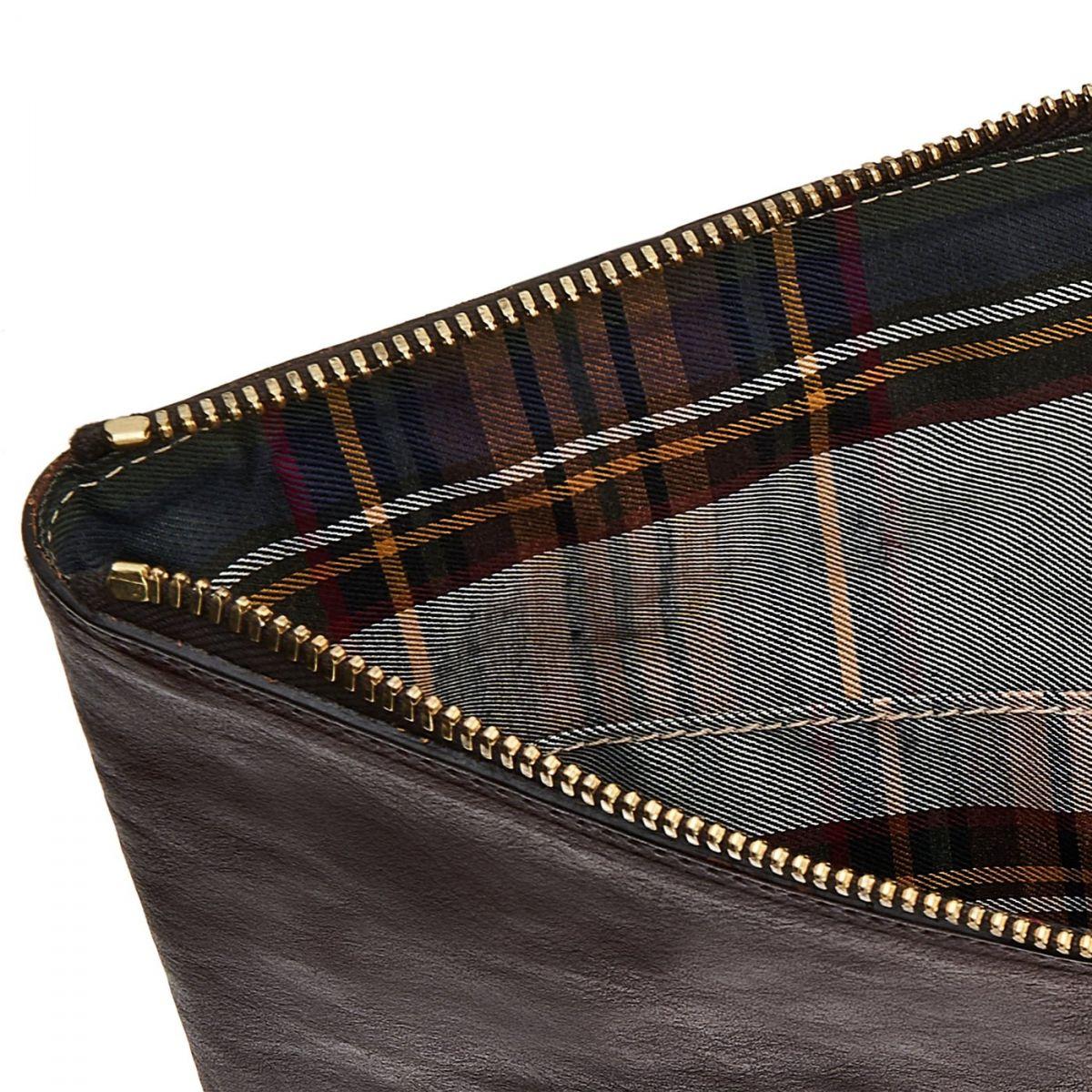 Portfolio in Vintage Cowhide Leather OSL002 color Dark Brown | Details