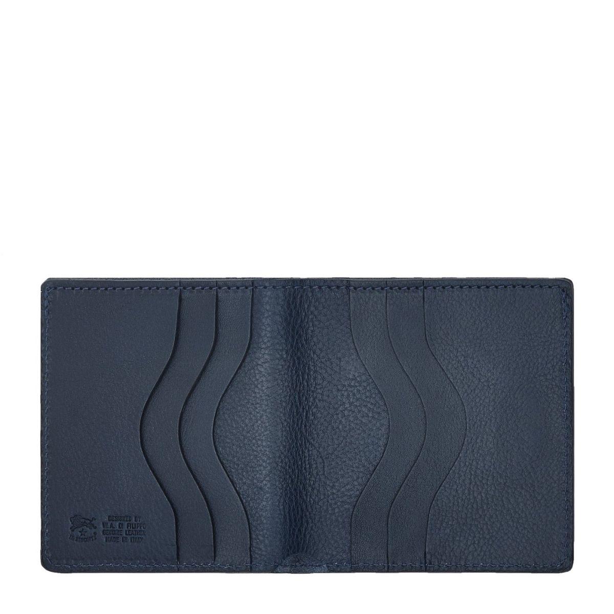 Portefeuille À Deux Volets pour Homme  en Cuir De Vachette Doublé SBW004 couleur Bleu | Details