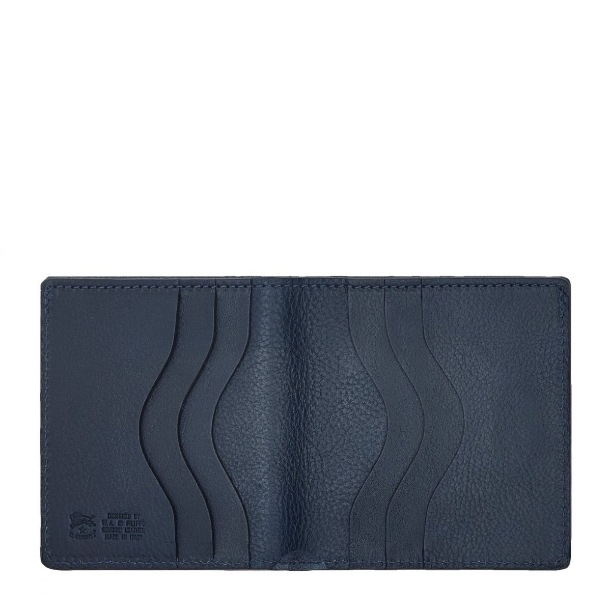 Men's Bi-Fold Wallet  in Cowhide Double Leather SBW004 color Blue | Details