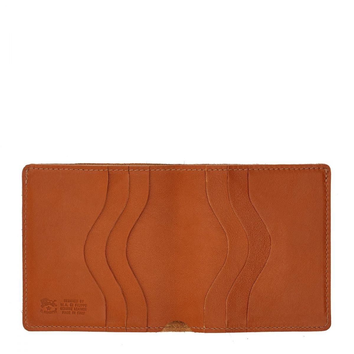Men's Bi-Fold Wallet  in Cowhide Double Leather SBW004 color Caramel | Details