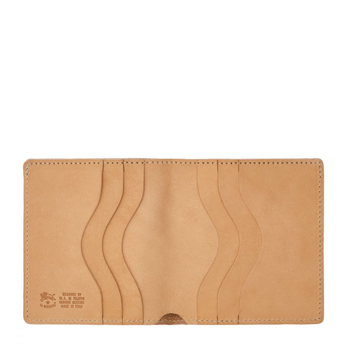 Men's Bi-Fold Wallet  in Cowhide Double Leather SBW004 color Natural | Details