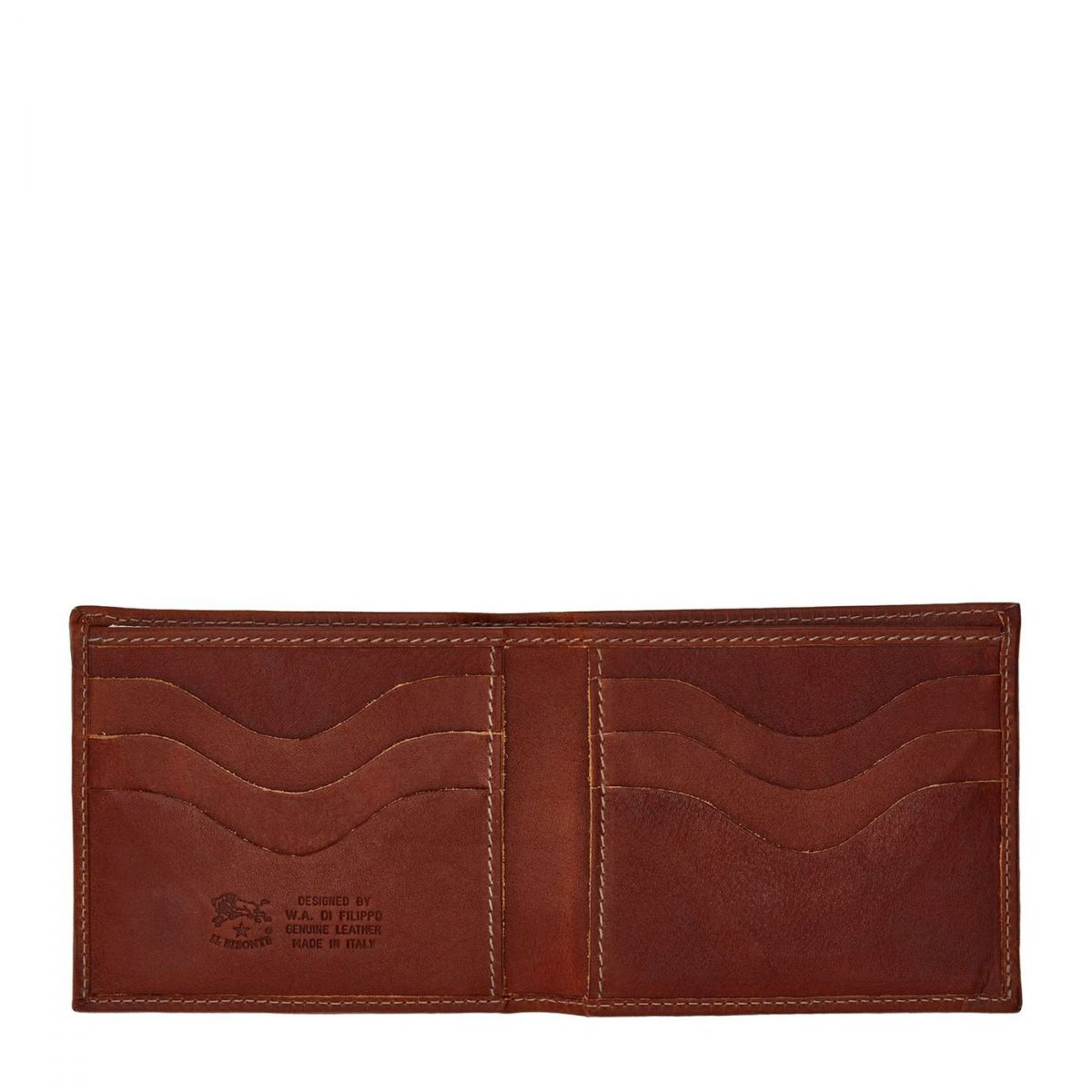 Men's Bi-Fold Wallet in Vintage Cowhide Leather SBW005 color Dark Brown Seppia | Details