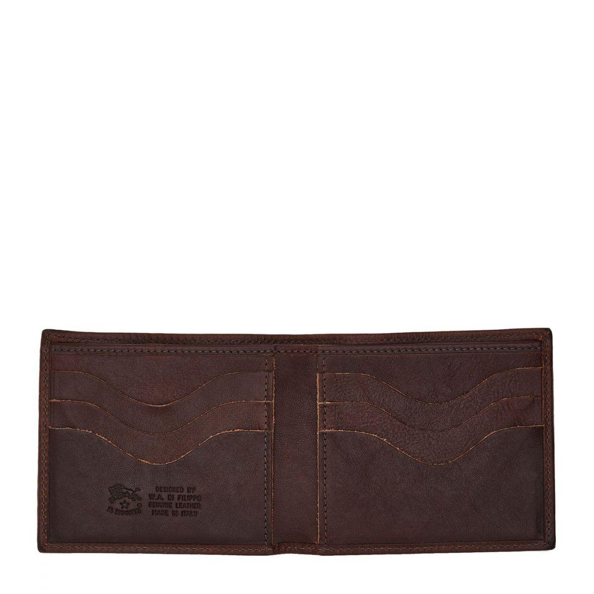 Men's Bi-Fold Wallet in Vintage Cowhide Leather SBW005 color Dark Brown | Details