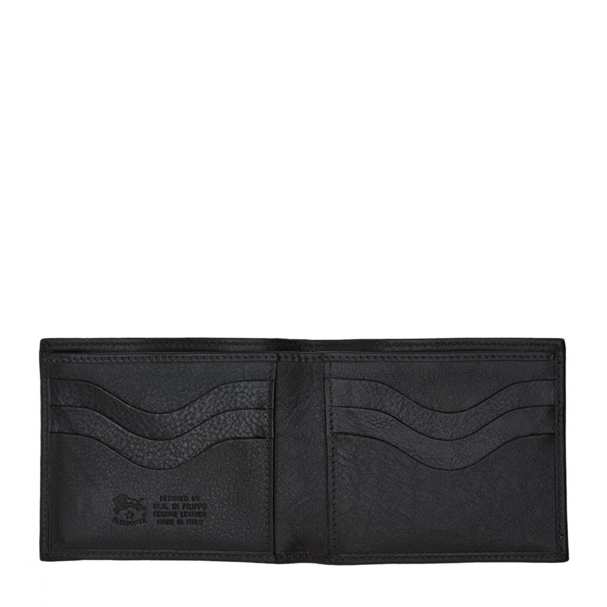 Men's Bi-Fold Wallet  in Cowhide Double Leather SBW005 color Black | Details
