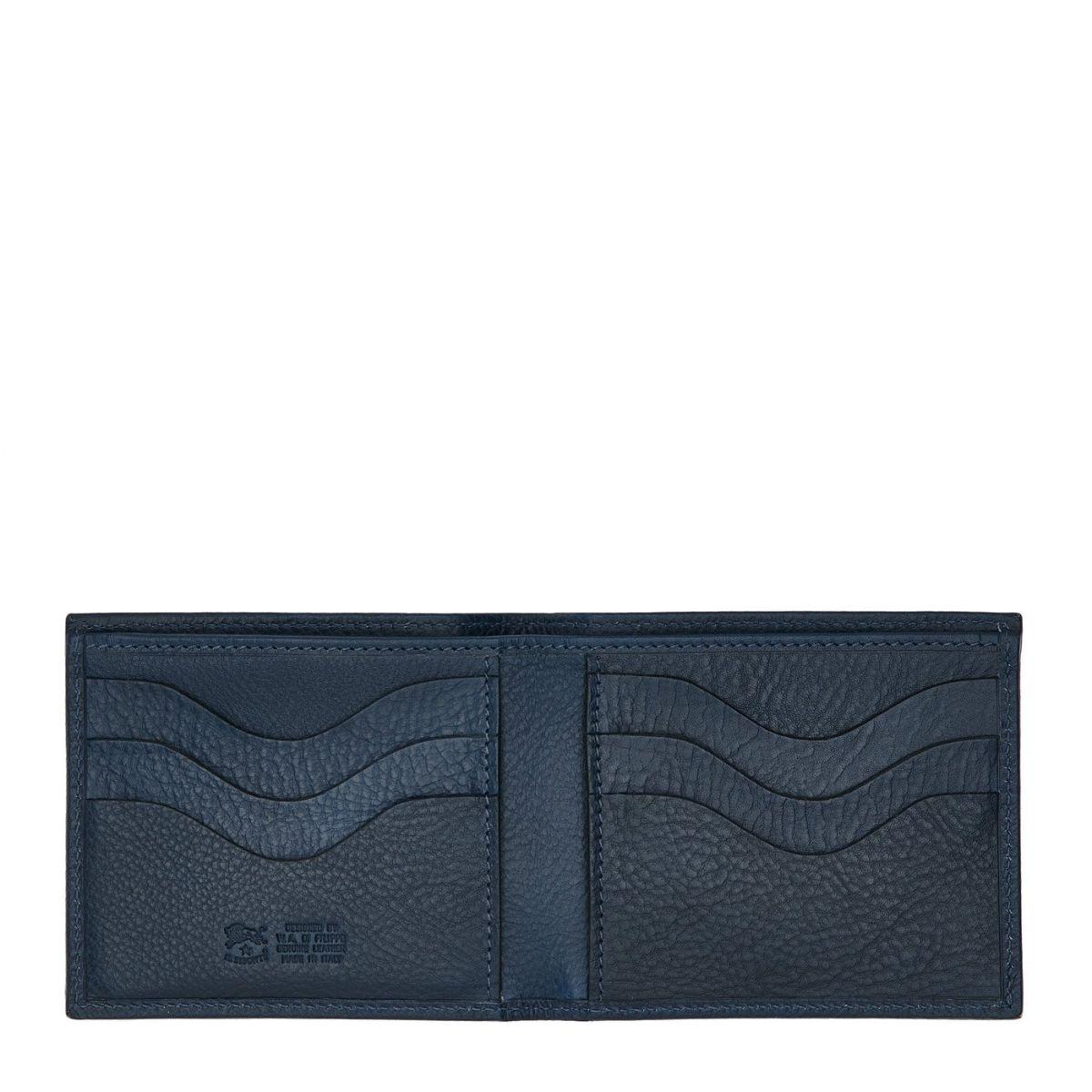 Feniglia - Portefeuille À Deux Volets pour Homme  en Cuir De Vachette Doublé SBW005 couleur Bleu | Details