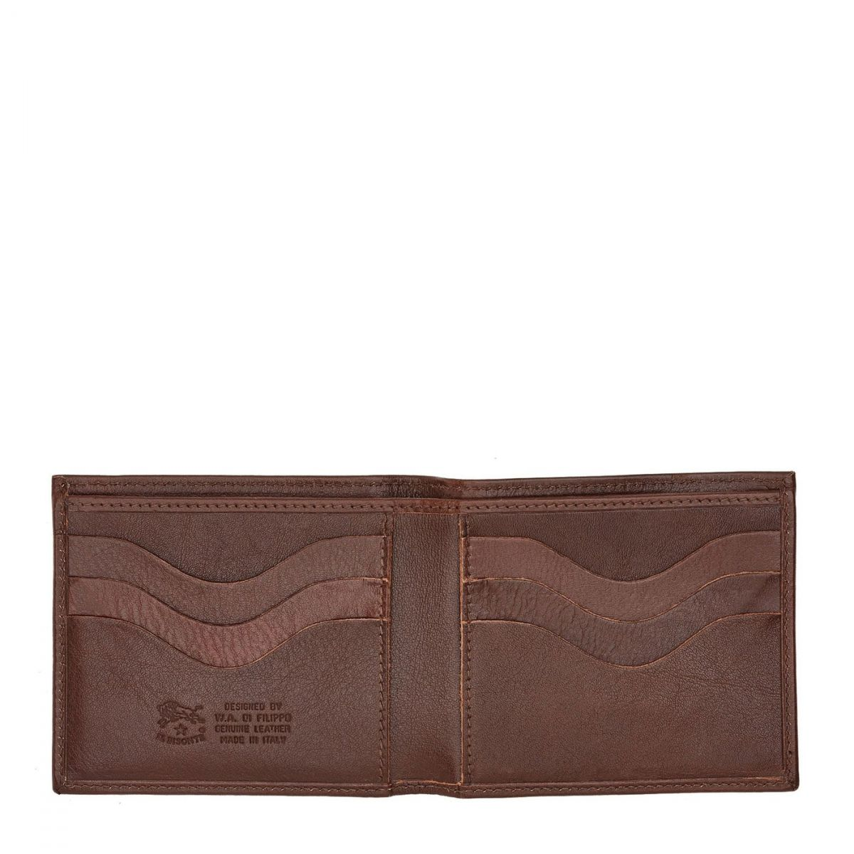 Men's Bi-Fold Wallet  in Cowhide Double Leather SBW005 color Brown | Details