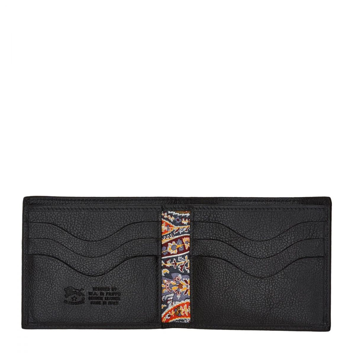 Men's Bi-Fold Wallet  in Cowhide Leather SBW005 color Black | Details