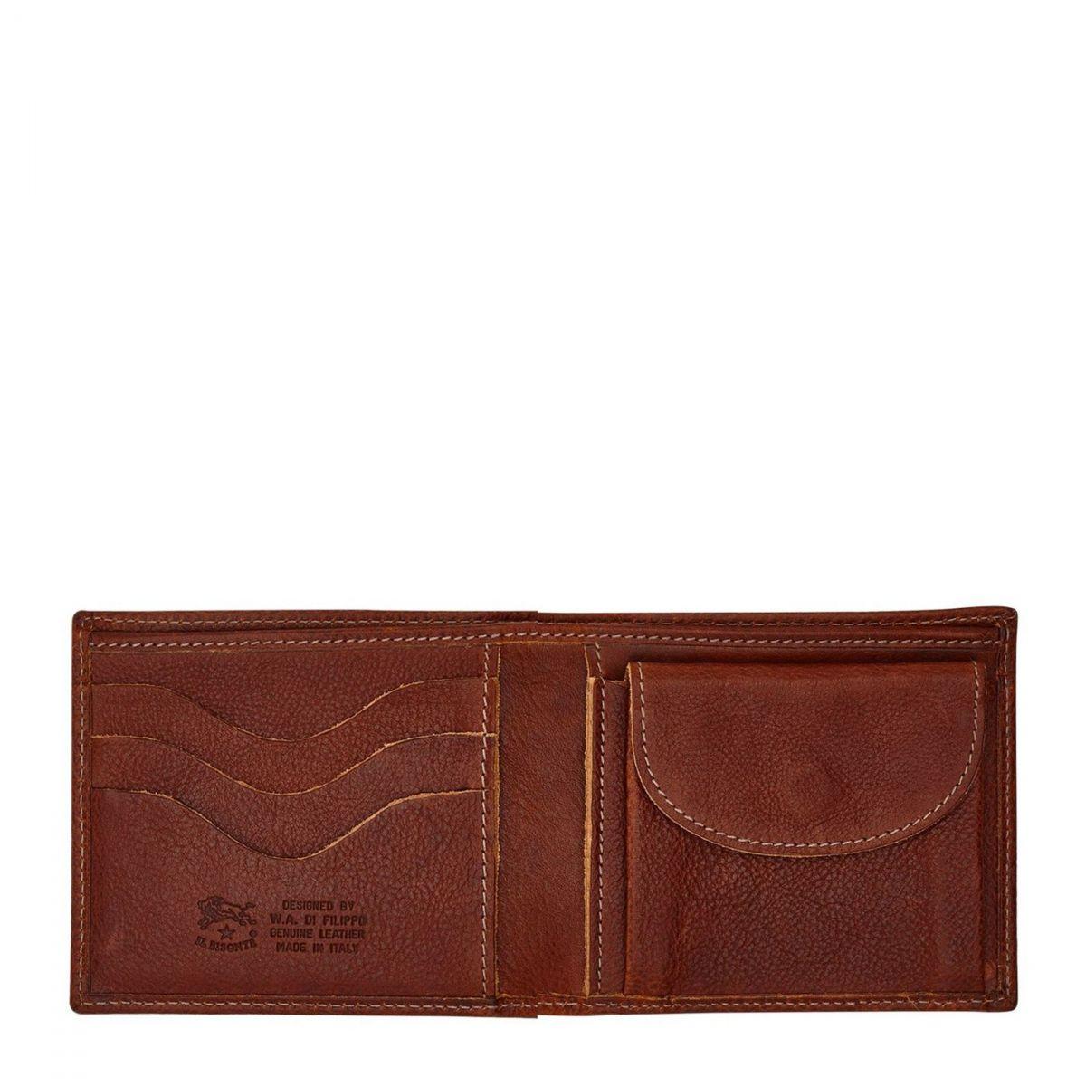 Men's Bi-Fold Wallet in Vintage Cowhide Leather SBW007 color Dark Brown Seppia | Details