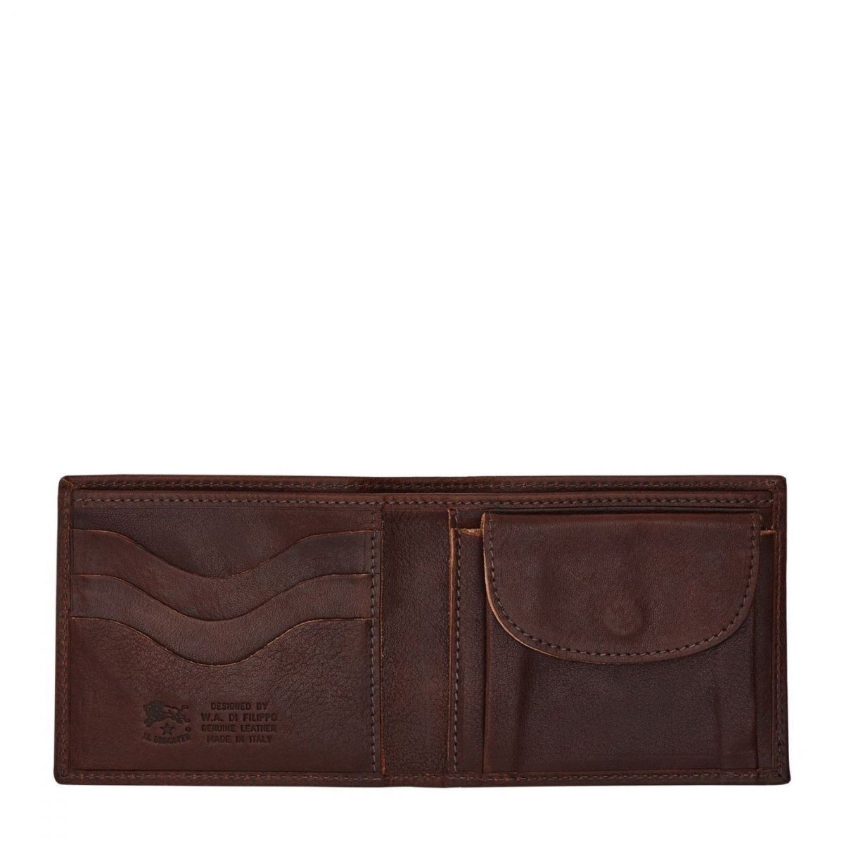 Men's Bi-Fold Wallet in Vintage Cowhide Leather SBW007 color Dark Brown | Details