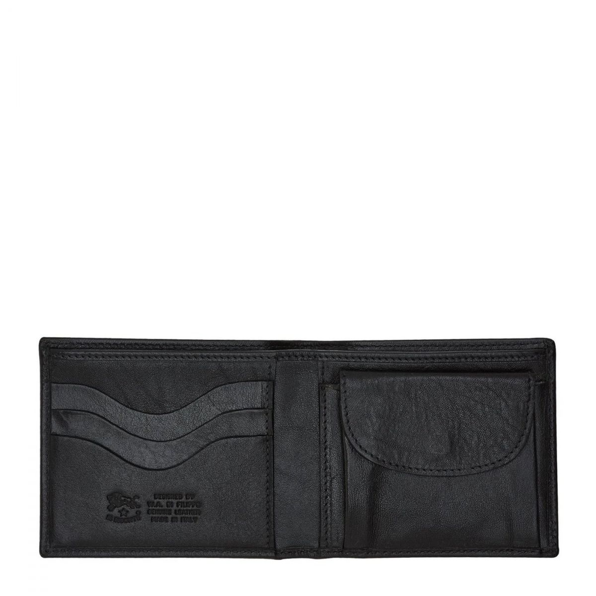Portafoglio A Libro da Uomo  in Doppia Pelle Di Vacchetta SBW007 colore Nero | Details