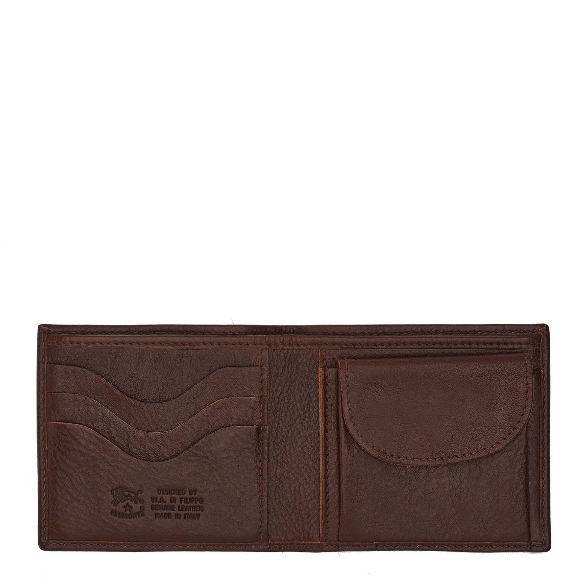 Men's Bi-Fold Wallet  in Cowhide Double Leather SBW007 color Brown | Details