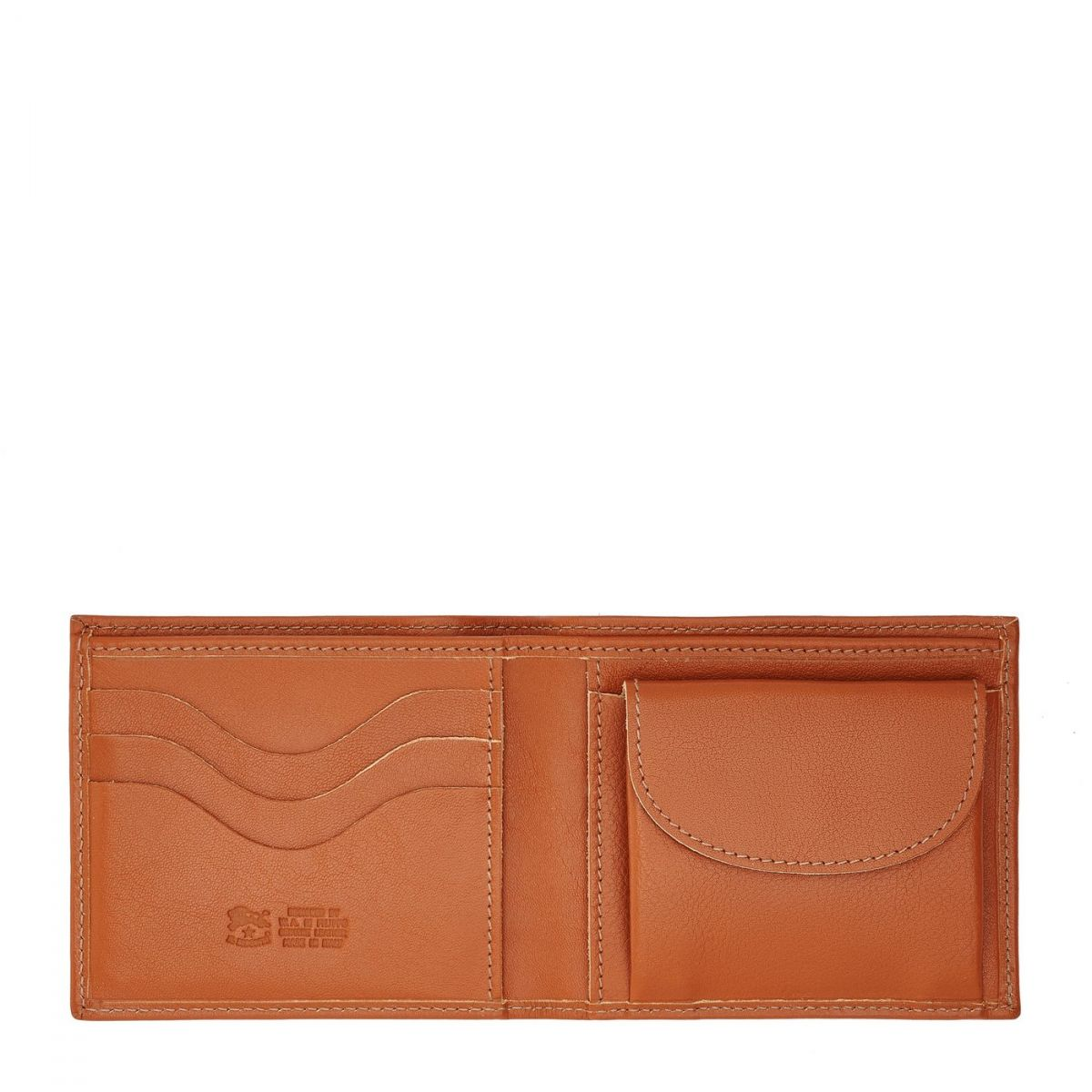 Men's Bi-Fold Wallet  in Cowhide Double Leather SBW007 color Caramel | Details
