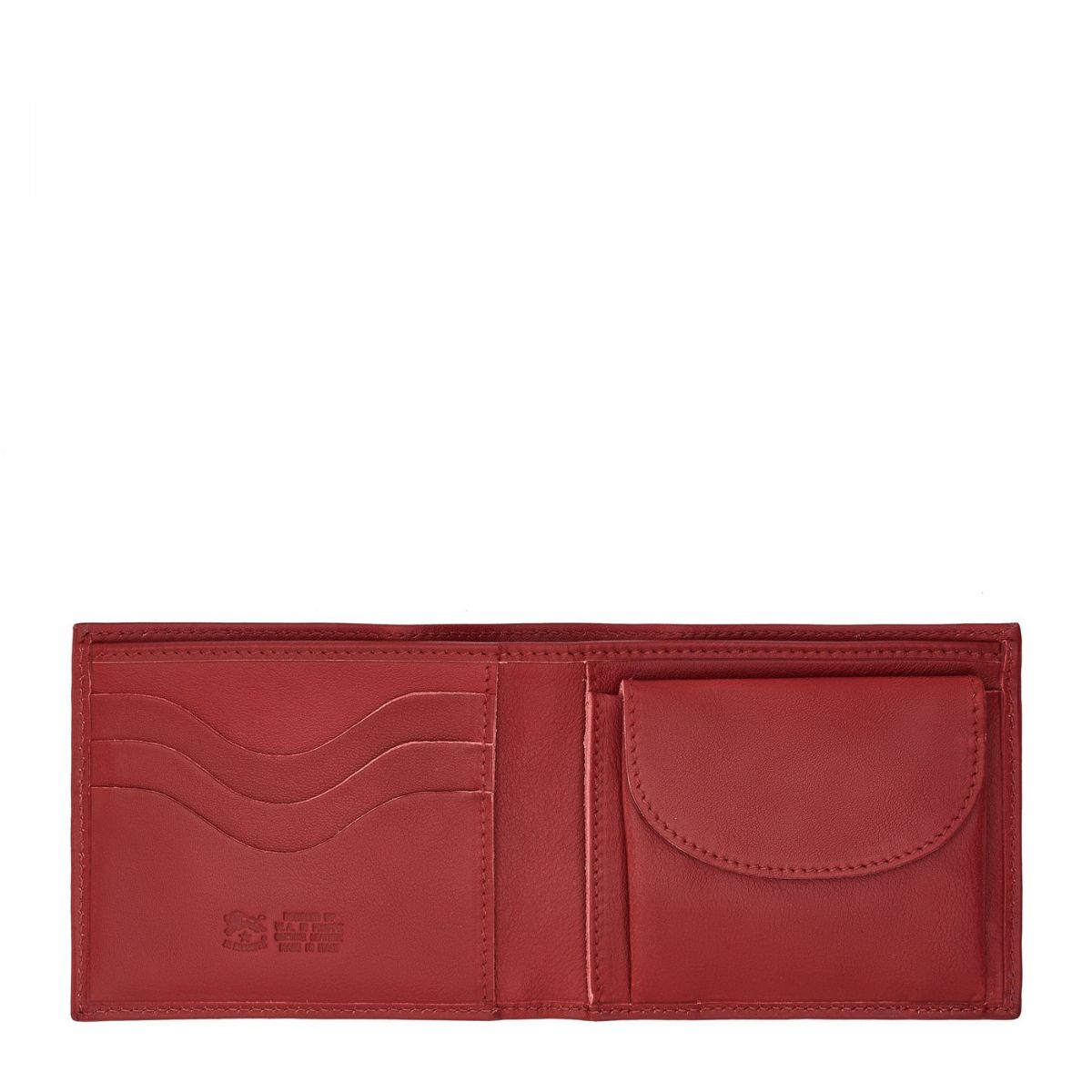 Men's Bi-Fold Wallet  in Cowhide Double Leather SBW007 color Red | Details