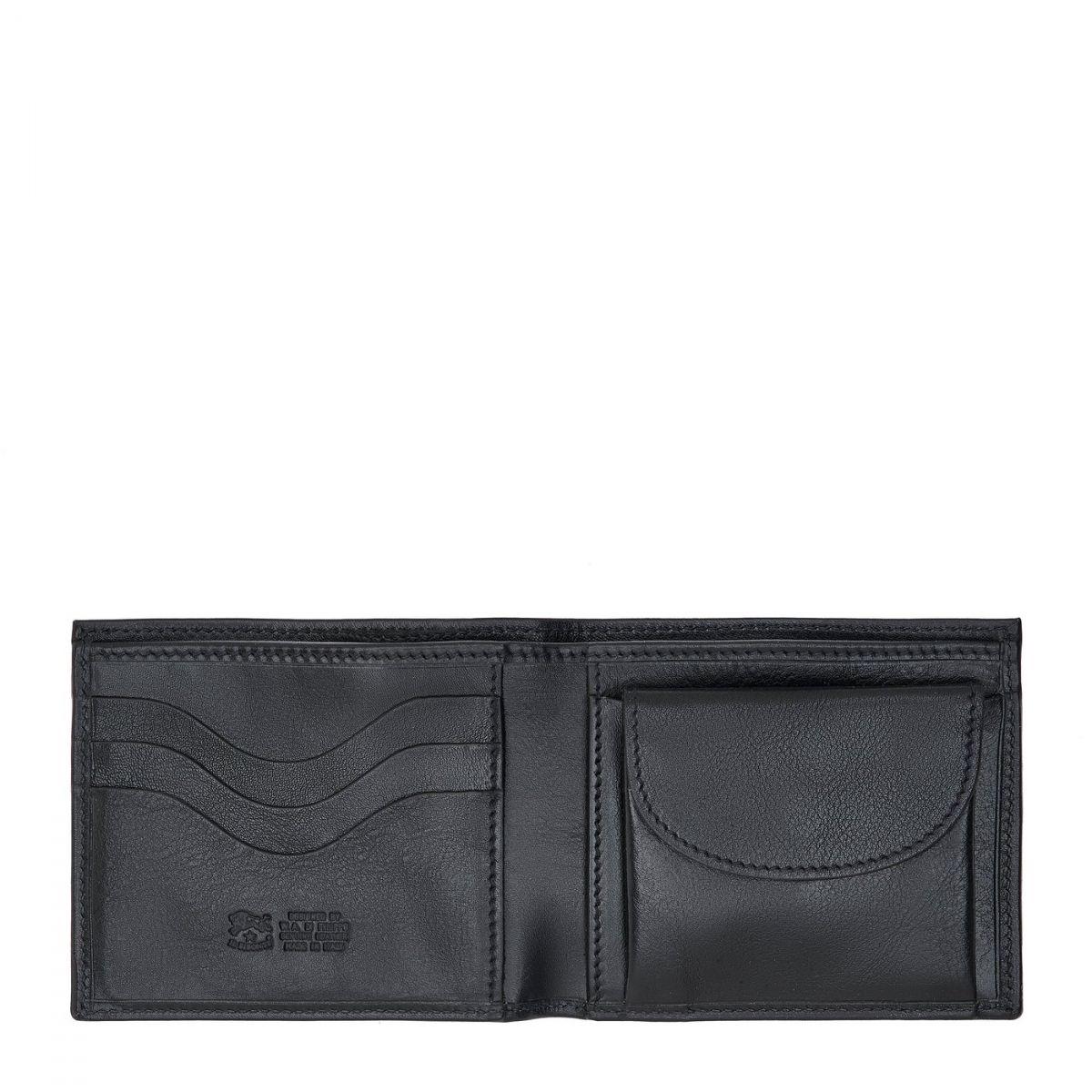 Men's Bi-Fold Wallet  in Cowhide Double Leather SBW023 color Black | Details