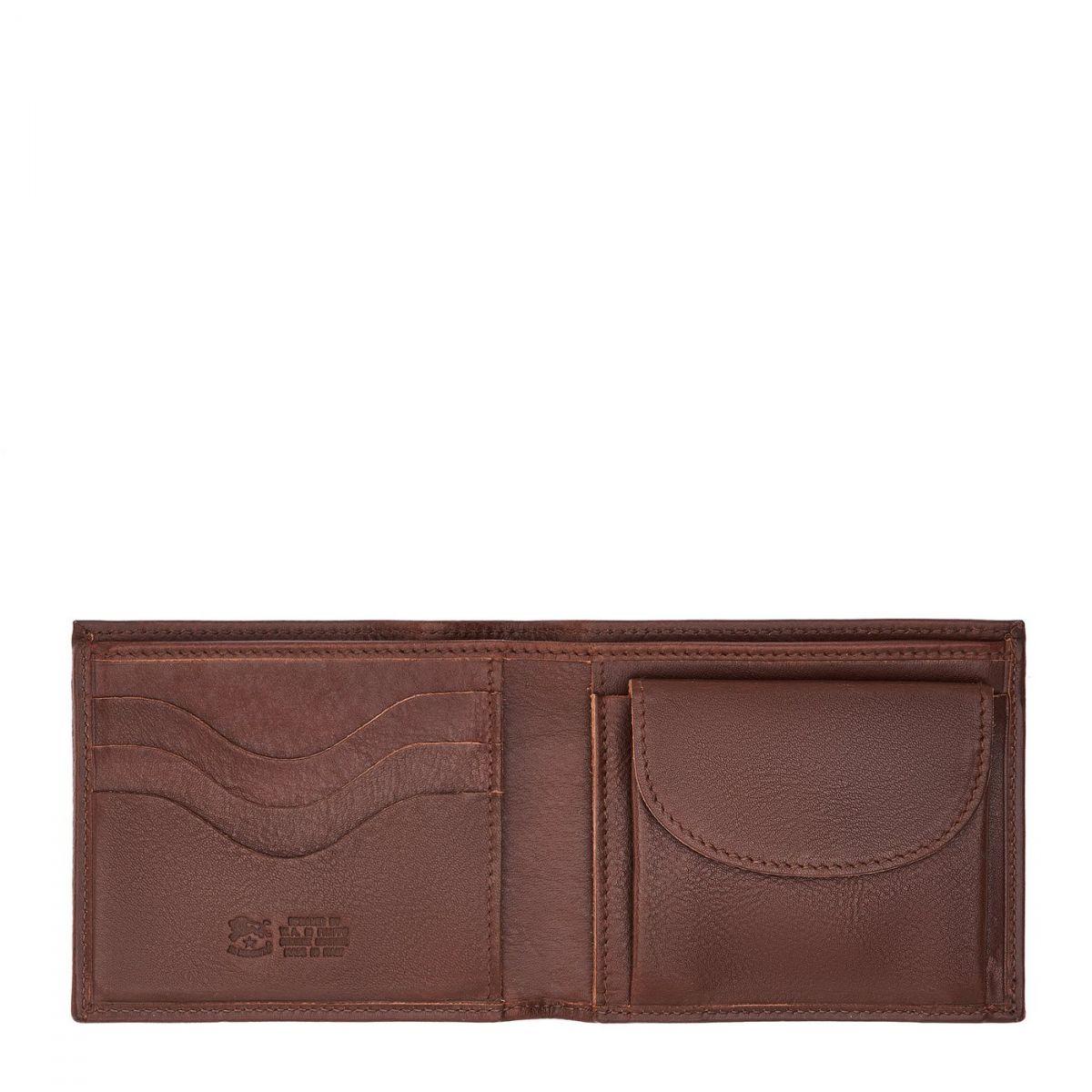 Men's Bi-Fold Wallet  in Cowhide Double Leather SBW023 color Brown | Details