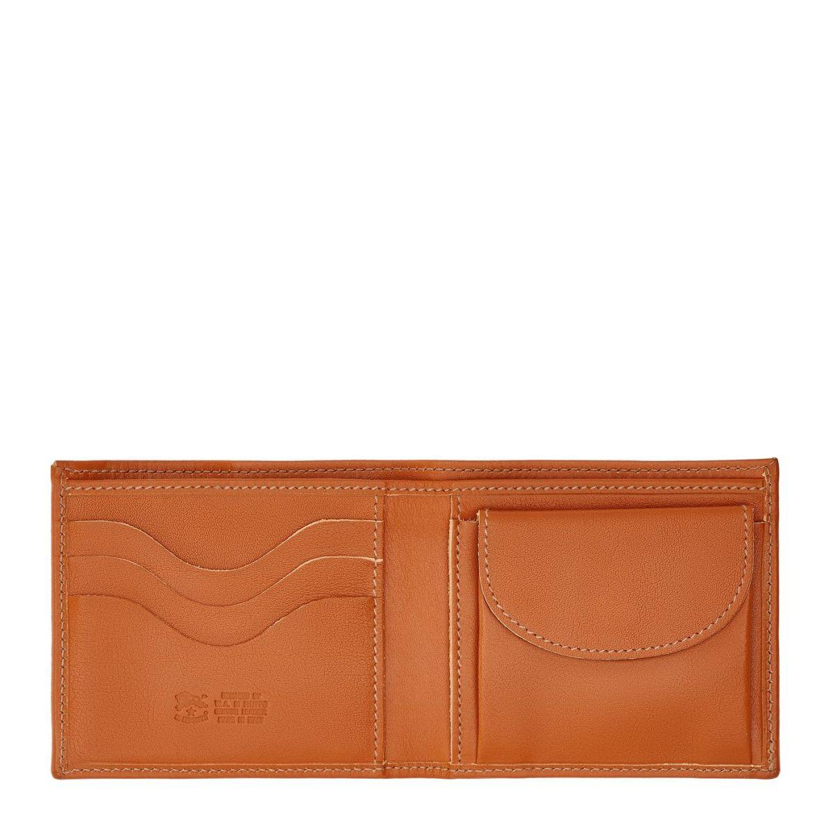Portafoglio A Libro da Uomo  in Doppia Pelle Di Vacchetta SBW023 colore Caramello | Details