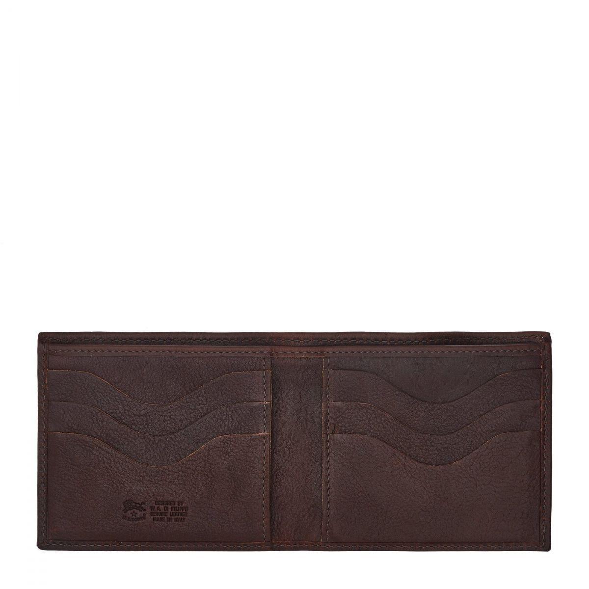 Portafoglio A Libro da Uomo in Pelle Di Vacchetta Invecchiata SBW029 colore Testa Di Moro | Details