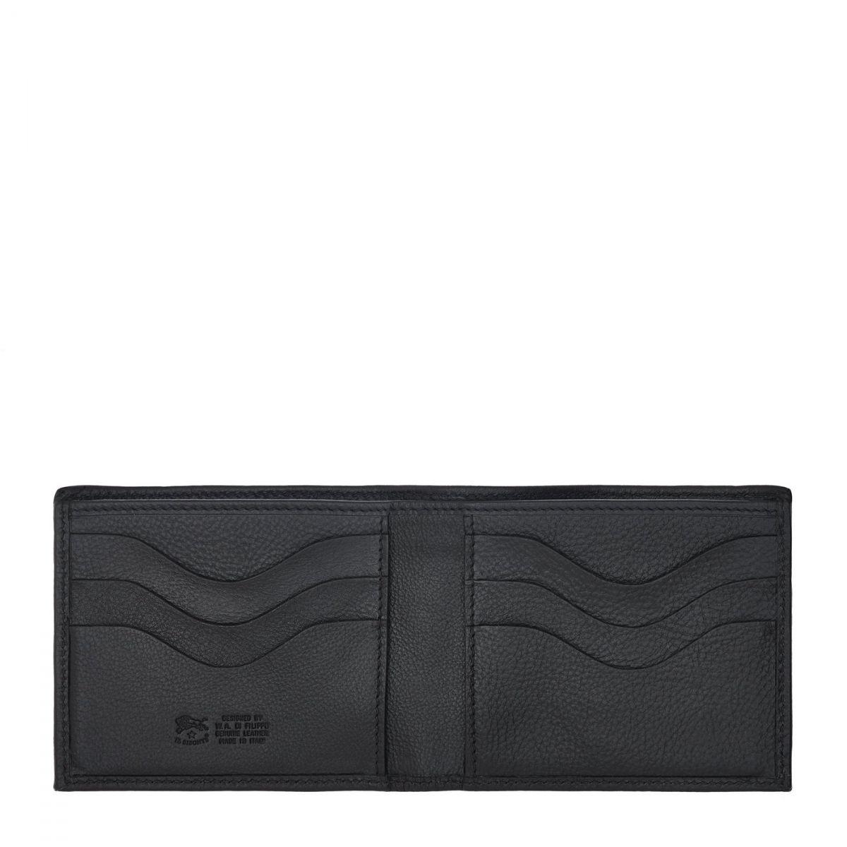 Men's Bi-Fold Wallet  in Cowhide Double Leather SBW029 color Black | Details