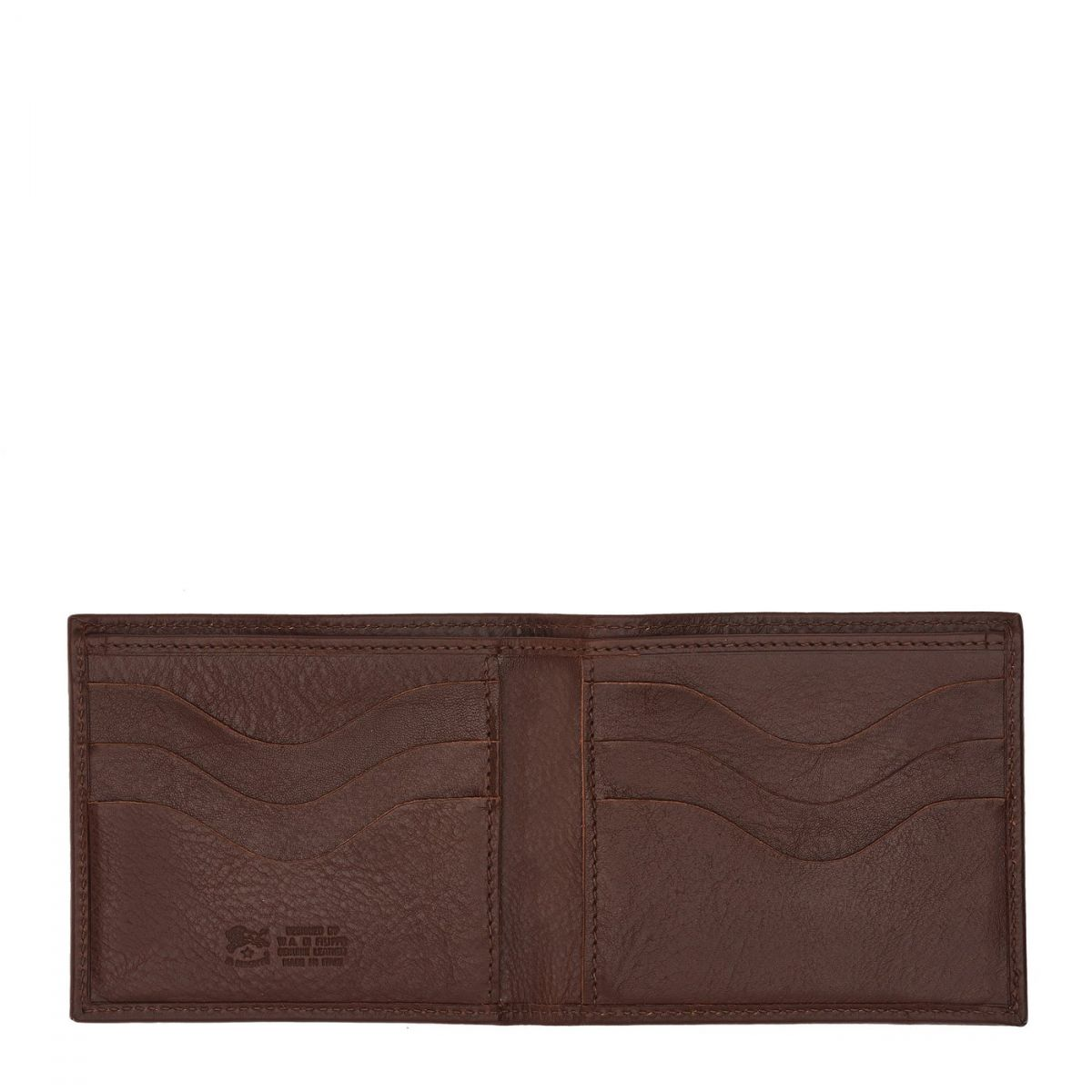 Men's Bi-Fold Wallet  in Cowhide Double Leather SBW029 color Brown | Details