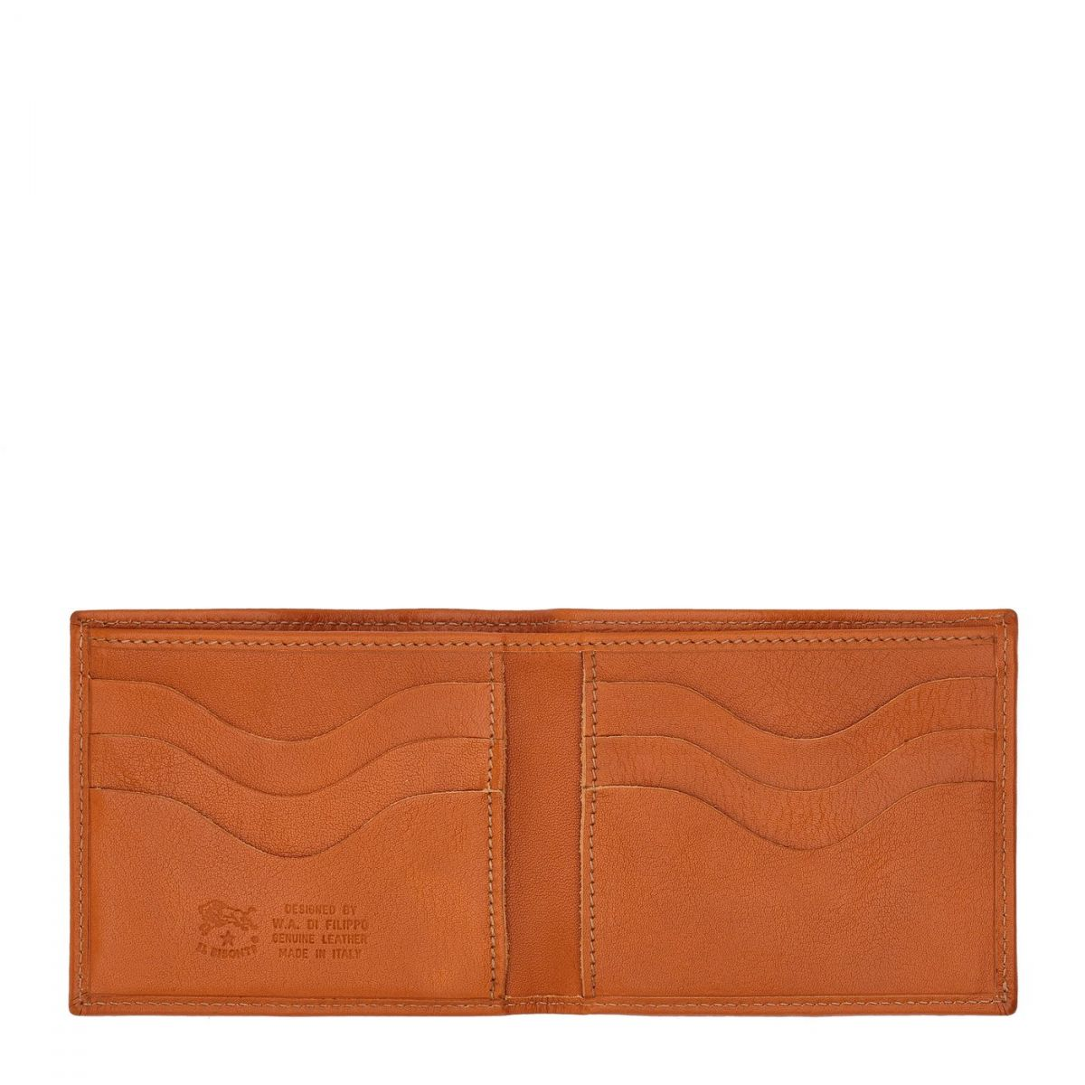 Men's Bi-Fold Wallet  in Cowhide Double Leather SBW029 color Caramel | Details