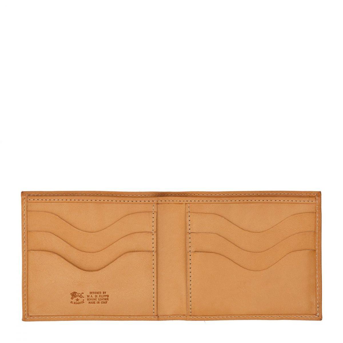 Men's Bi-Fold Wallet  in Cowhide Double Leather SBW029 color Natural | Details