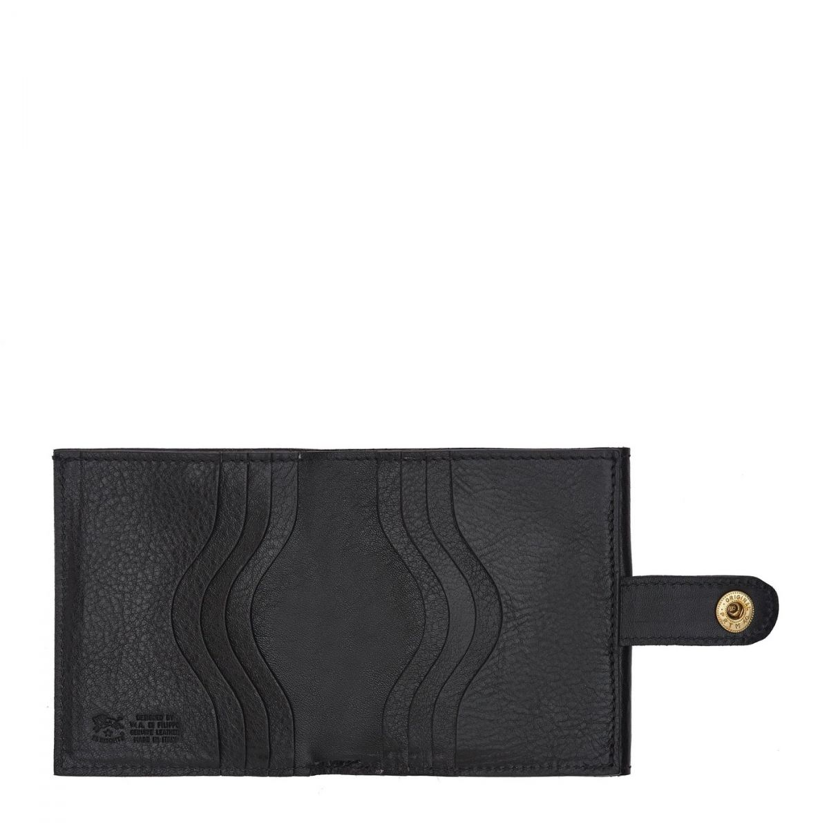Men's Bi-Fold Wallet  in Cowhide Double Leather SBW030 color Black | Details