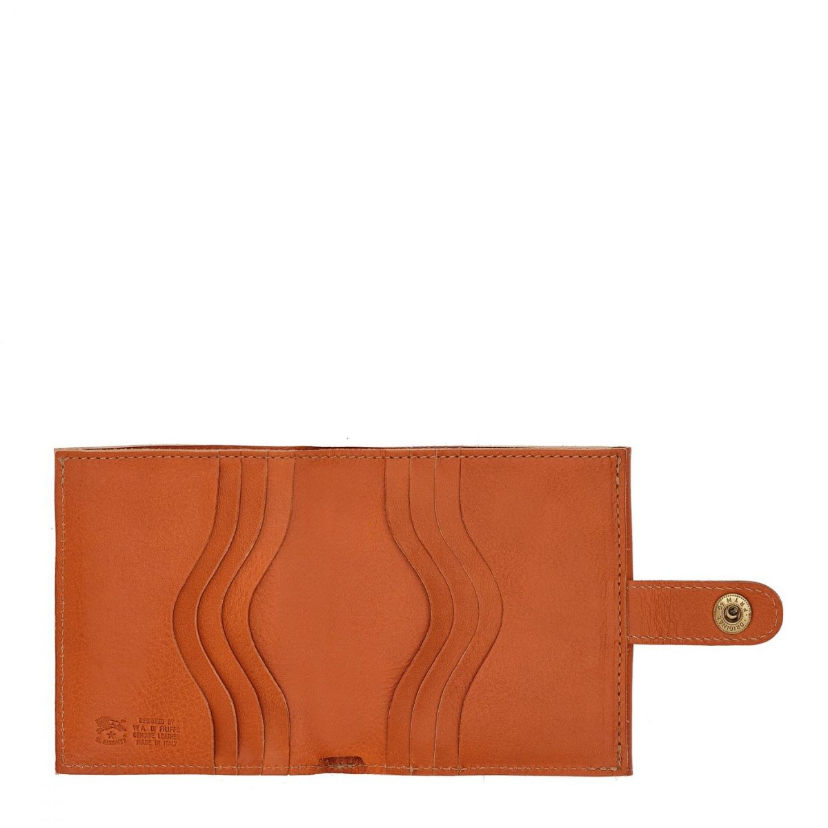 Men's Bi-Fold Wallet  in Cowhide Double Leather SBW030 color Caramel | Details