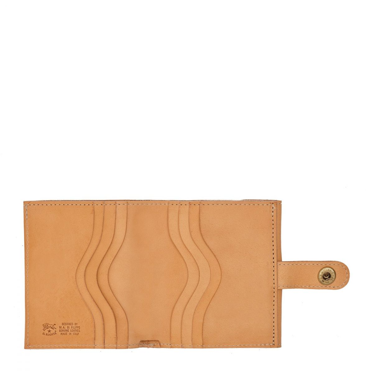 Men's Bi-Fold Wallet  in Cowhide Double Leather SBW030 color Natural | Details