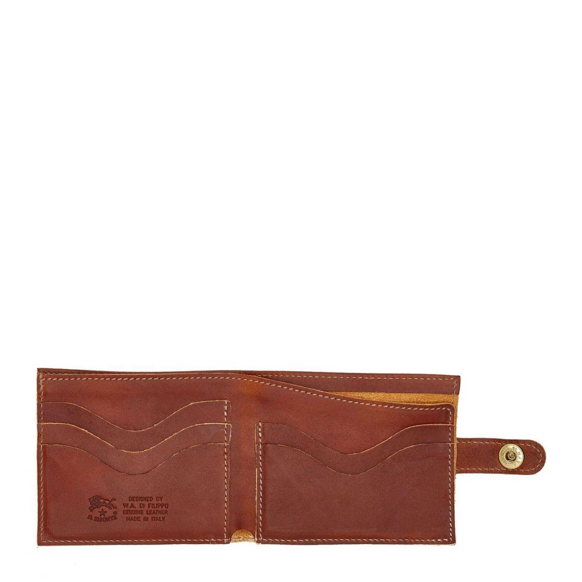 Men's Bi-Fold Wallet in Vintage Cowhide Leather SBW034 color Dark Brown Seppia | Details