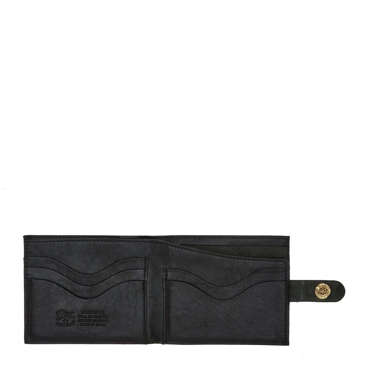 Men's Bi-Fold Wallet  in Cowhide Double Leather SBW034 color Black | Details