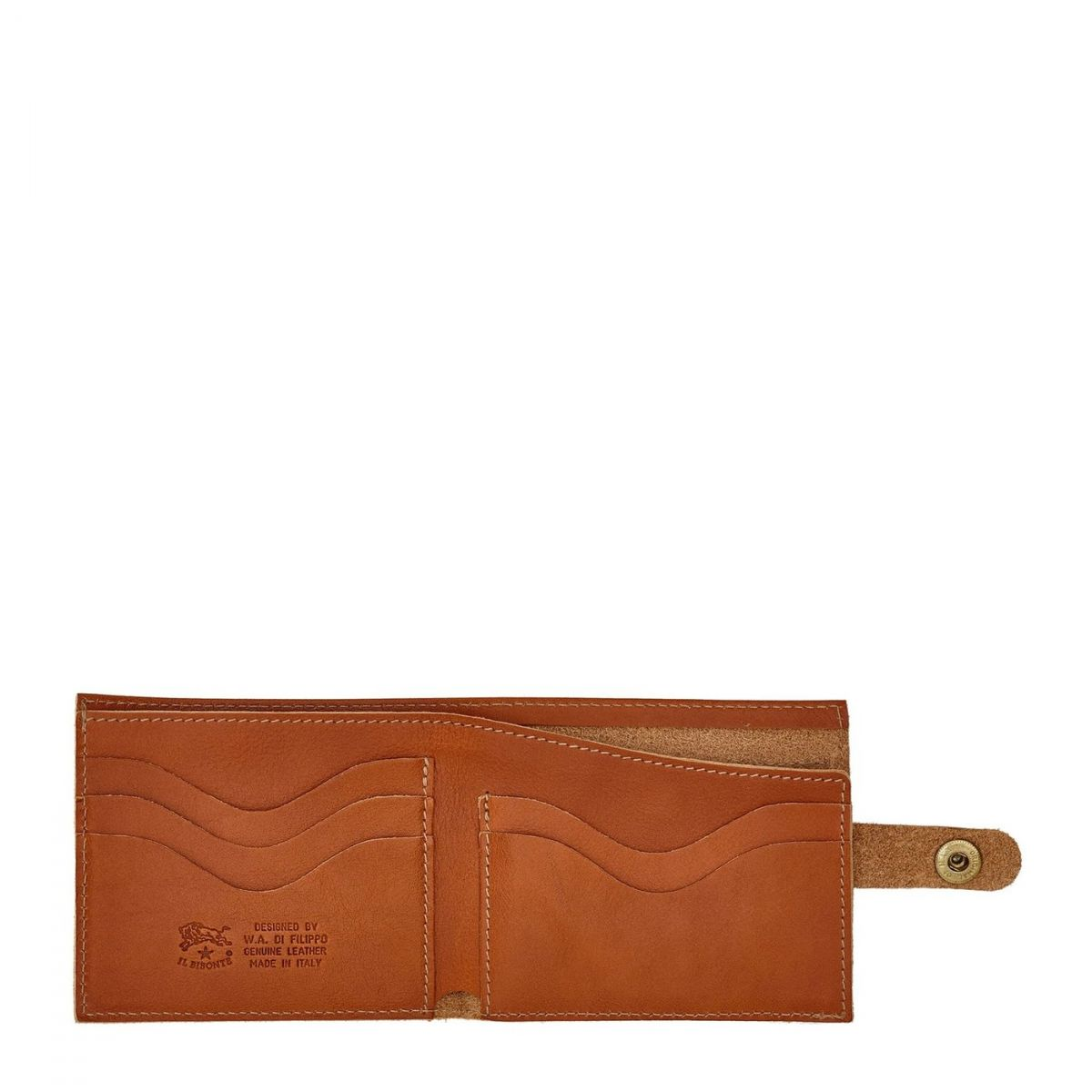 Men's Bi-Fold Wallet  in Cowhide Double Leather SBW034 color Caramel | Details