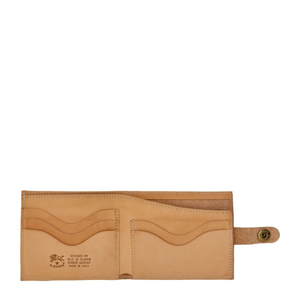 Men's Bi-Fold Wallet  in Cowhide Double Leather SBW034 color Natural | Details