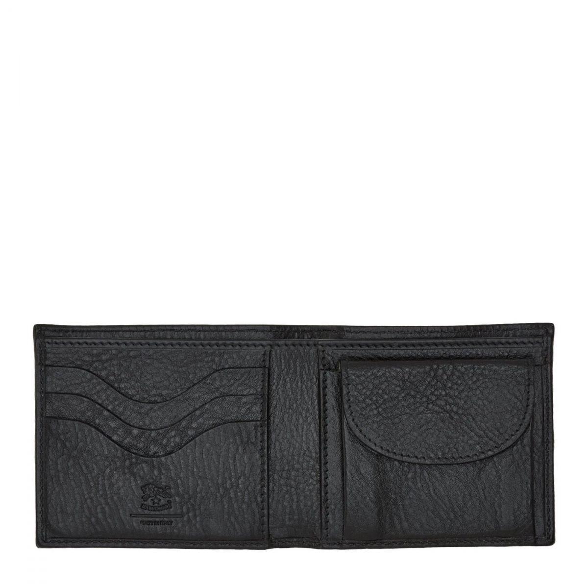 Men's Bi-Fold Wallet  in Cowhide Leather SBW041 color Black | Details