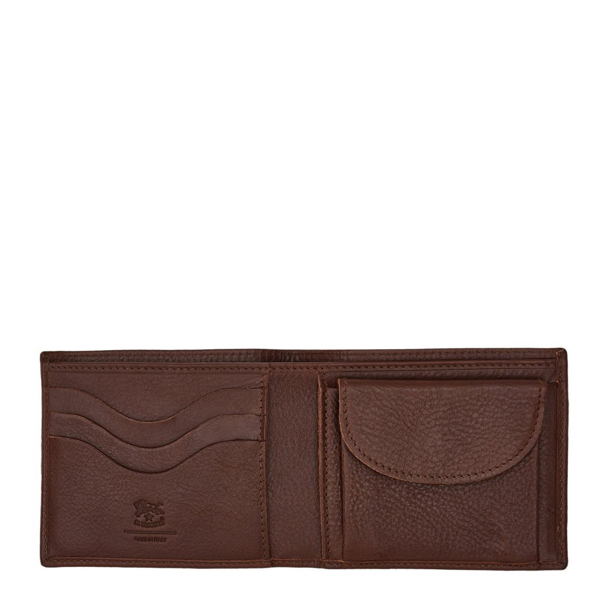 Men's Bi-Fold Wallet  in Cowhide Leather SBW041 color Brown | Details