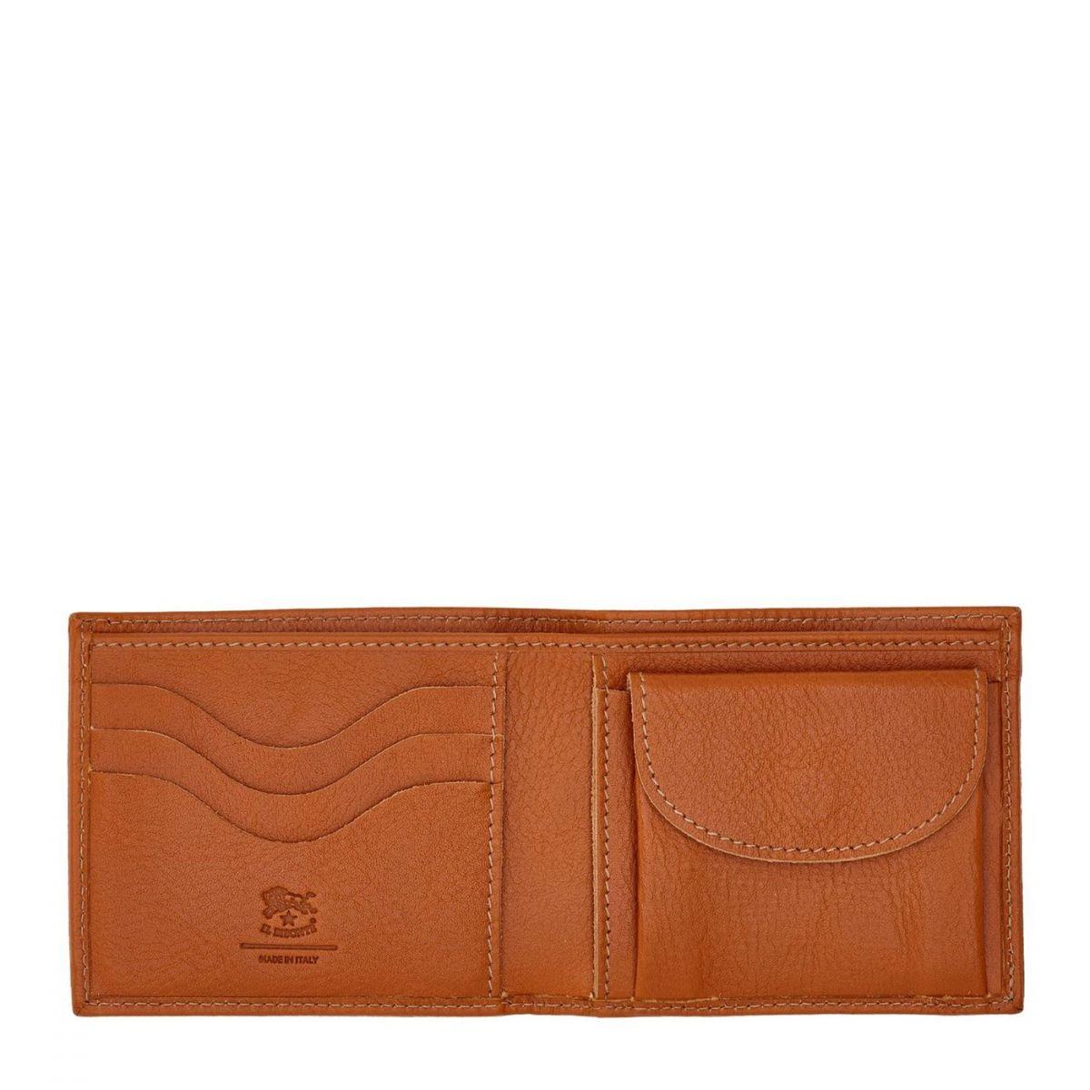 Portafoglio A Libro da Uomo  in Pelle Di Vacchetta SBW041 colore Caramello | Details